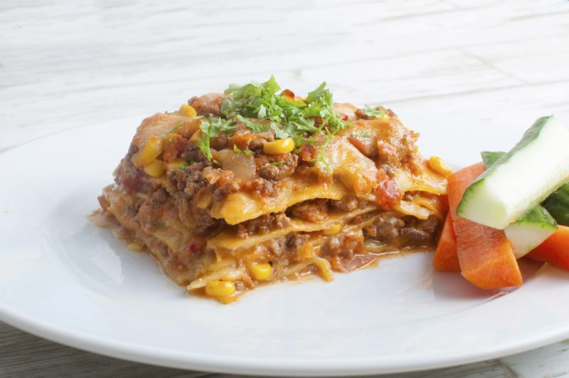 Lasagne with veggies and bacon